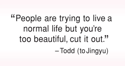 People are trying to live a normal life but you're too beautiful, cut it out